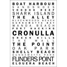 CRONULLA BEACH LETTERING PRINT BLACK ON WHITE