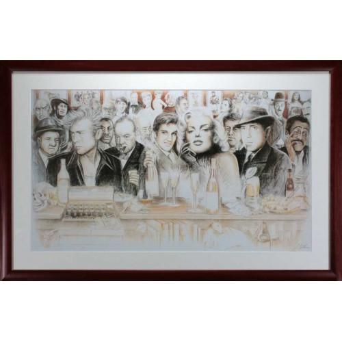 elvis presley marilyn monroe james dean humphery bogart bar poster photo framed