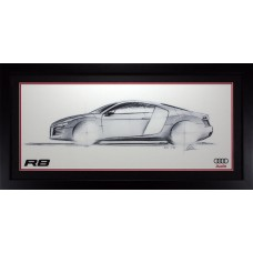 AUDI R8 SPORTS CAR FRAMED ILLUSTRATION GILCLEE PRINT WALL ART