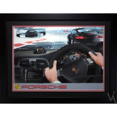 PORSCHE GT2 911 TURBO SPORTS CAR FRAMED ILLUSTRATION GILCLEE PRINT WALL ART