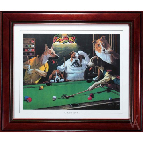 SNOOKER DOGS PLAYING POOL AROUND POOL TABLE BILLIARD TABLE SNOOKER TABLE  JACK THE RIPPER