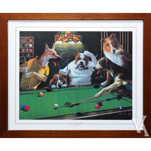 SNOOKER DOGS PLAYING POOL AROUND POOL TABLE BILLIARD TABLE