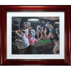 SNOOKER DOGS PLAYING POOL AROUND POOL TABLE BILLIARD TABLE SNOOKER TABLE SCRATCHED AT DAWN