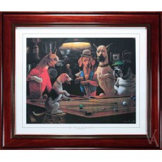 SNOOKER DOGS PLAYING POOL AROUND POOL TABLE BILLIARD TABLE SNOOKER TABLE HEY ONE LEG ON THE FLOOR