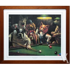 SNOOKER DOGS PLAYING POOL AROUND POOL TABLE BILLIARD TABLE SNOOKER TABLE THE HUSTLER