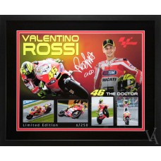 SALE VALENTINO ROSSI 7 TIMES MOTO GP WORLD CHAMPION SIGNED & FRAMED DUCATI RACING POSTER