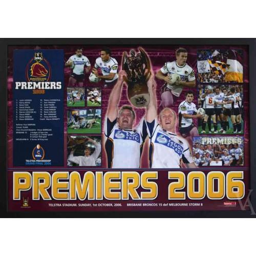 Brisbane Broncos Premiers Framed Photos Print Poster