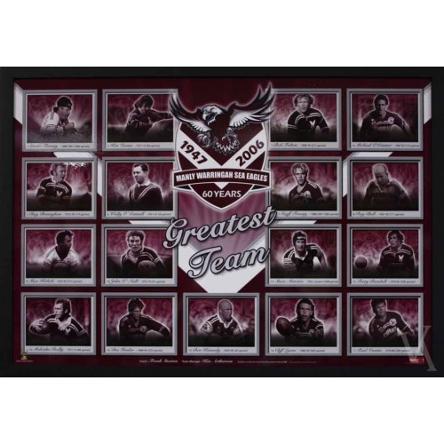 manly sea eagles 60 years photos print poster framed